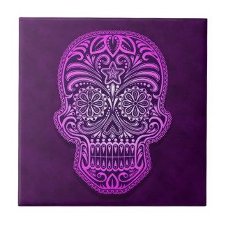 Cráneo púrpura decorativo del azúcar azulejo cuadrado pequeño