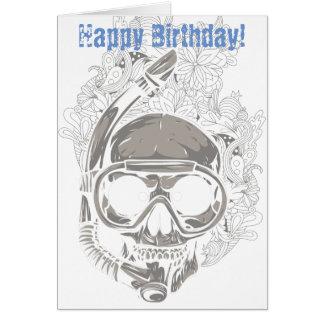 Cráneo que bucea, feliz cumpleaños del buceador tarjeta de felicitación