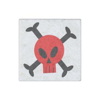 Cráneo rojo e imán de piedra de la bandera pirata