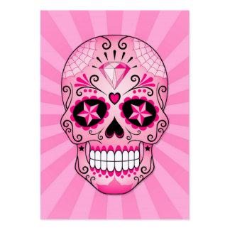 Cráneo rosado del azúcar del diamante tarjetas personales