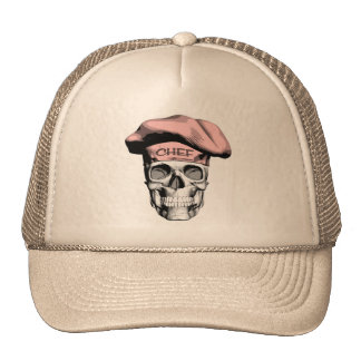 Cráneo rosado del cocinero del gorra