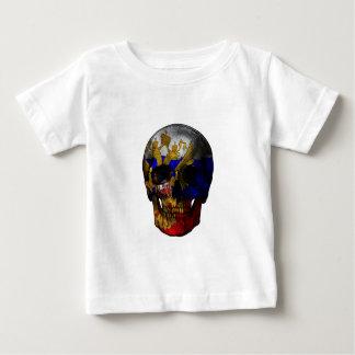 Cráneo ruso de la bandera camiseta de bebé