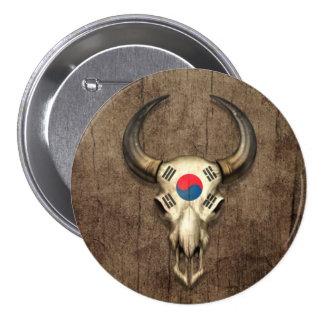 Cráneo surcoreano de Bull de la bandera en el efec Chapa Redonda De 7 Cm