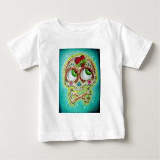 Cráneo tatuado del azúcar camiseta de bebé