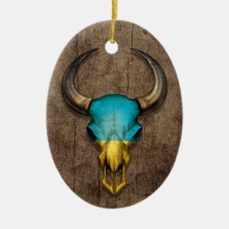 Cráneo ucraniano de Bull de la bandera en el efect Ornamentos De Reyes Magos