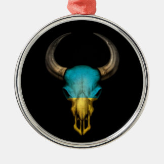 Cráneo ucraniano de Bull de la bandera en negro Ornatos