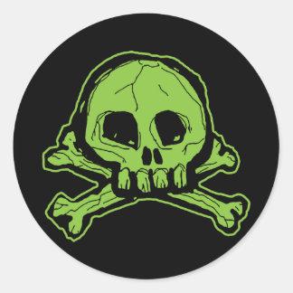Cráneo verde de Scribbly Pegatina Redonda