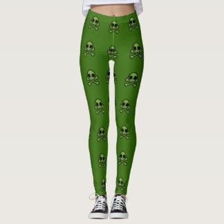 Cráneo verde lindo leggings