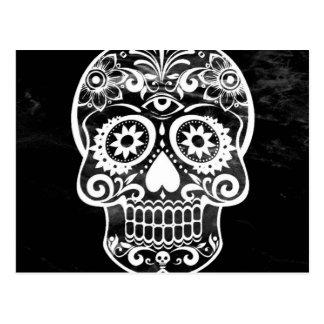 Cráneo, white04 negro postal