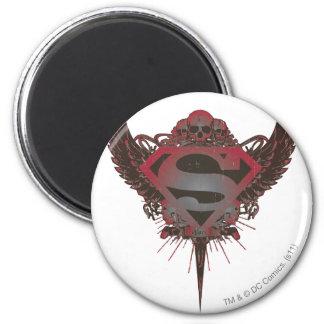 Cráneo y alas del logotipo del superhombre imán redondo 5 cm