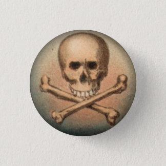 Cráneo y bandera pirata botón redondo de 1 pulgada