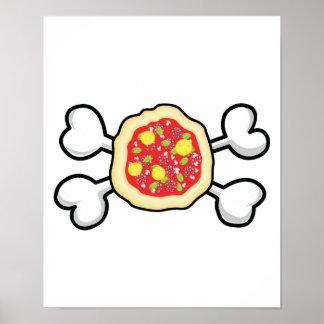 cráneo y bandera pirata de la pizza póster