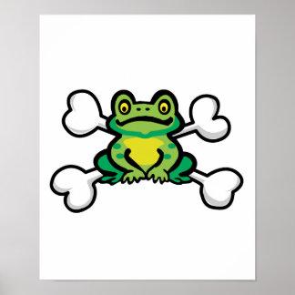cráneo y bandera pirata de la rana del froggy póster