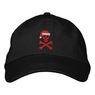 Cráneo y bandera pirata de Santa Gorra Bordada