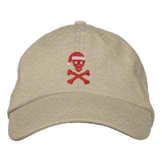 Cráneo y bandera pirata de Santa Gorros Bordados