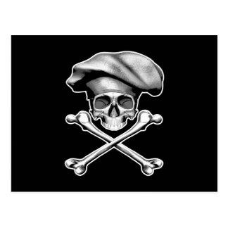 Cráneo y bandera pirata del cocinero postal