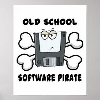 cráneo y bandera pirata del pirata del software de póster