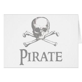 Cráneo y bandera pirata del pirata tarjeton