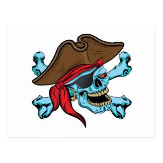 Cráneo y bandera pirata del pirata postal