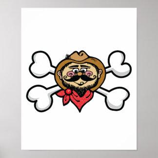 cráneo y bandera pirata del vaquero impresiones