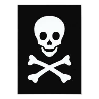 Cráneo y bandera pirata invitacion personal