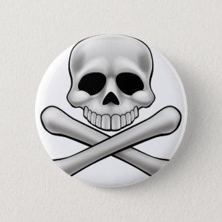 Cráneo y bandera pirata Rogelio alegre del dibujo Chapa Redonda De 5 Cm