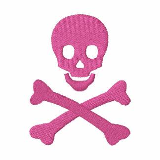 Cráneo y bandera pirata sudadera bordada con cremallera