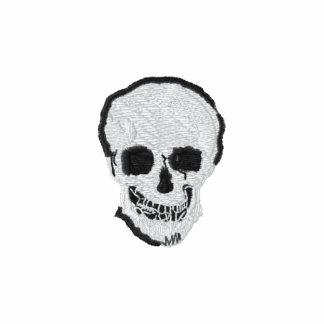 Cráneo y bandera pirata sudadera bordada con cremallera de mujer