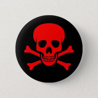 Cráneo y botón rojos de la bandera pirata