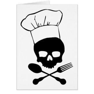 Cráneo y cocinero de la bandera pirata tarjeta