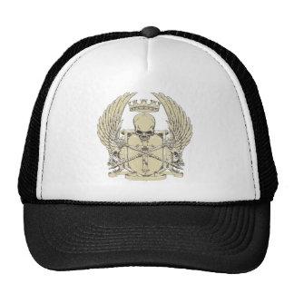 Cráneo y corona gorros bordados