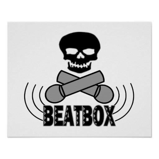 Cráneo y Crossbone Mics de Beatbox Posters
