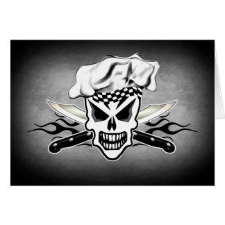 Cráneo y cuchillos llameantes 2 del cocinero del tarjeta de felicitación
