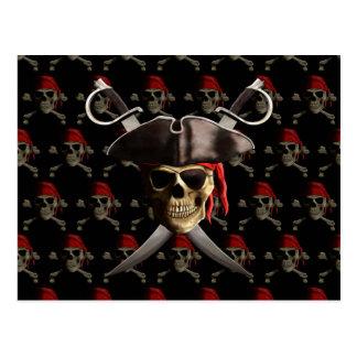Cráneo y espadas del pirata postal