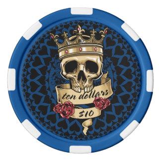 Cráneo y ficha de póker de los rosas - $10 juego de fichas de póquer