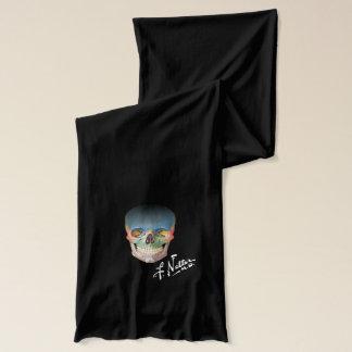 Cráneo y firma del Netter en la bufanda negra