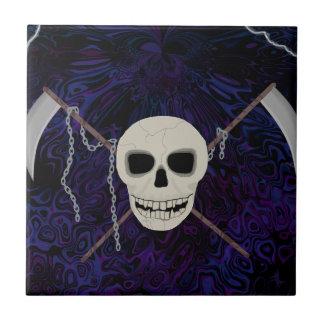 Cráneo y guadañas azulejo de cerámica