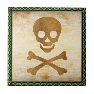 Cráneo y huesos azulejo