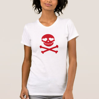 Cráneo y huesos rojos con los corazones camisetas