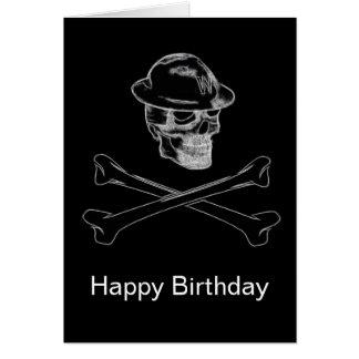 Cráneo y tarjeta de cumpleaños ennegrecidos de la