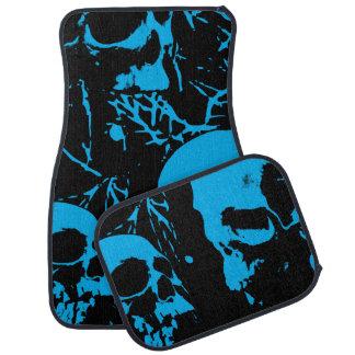 Cráneos azules del Grunge Alfombrilla De Coche