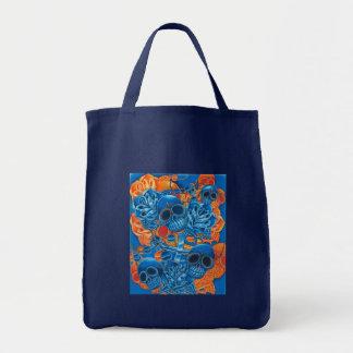 Cráneos azules y anaranjados bolsa de mano