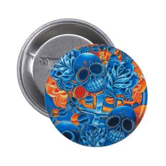 Cráneos azules y anaranjados chapa redonda de 5 cm