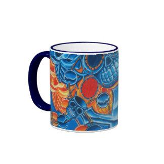 Cráneos azules y anaranjados taza de café