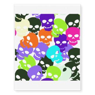 Cráneos coloridos tatuajes temporales