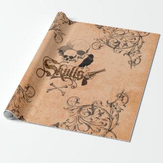 Cráneos con el cuervo y los elementos florales papel de regalo