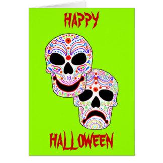 Cráneos de la Comedia-Tragedia de Halloween DOTD Tarjeta De Felicitación
