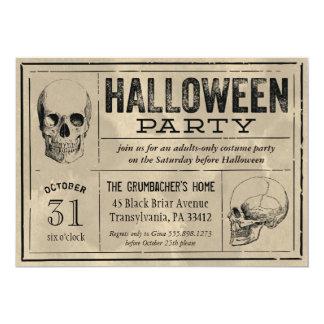 Cráneos de la invitación del fiesta de Halloween