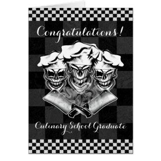 Cráneos de risa del cocinero tarjeta de felicitación