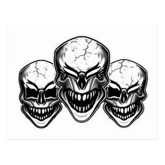 Cráneos de risa frescos postal